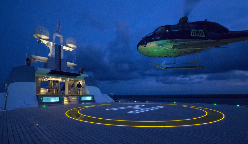 Certified-Helipad-aboard-Stella-Maris-Yacht-by-night-1